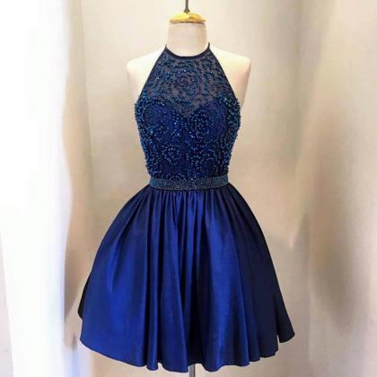 Blue beads Homecoming Dress,Short H..