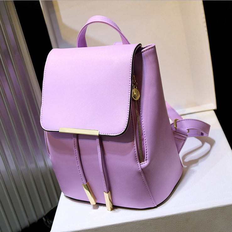 Fashion purple Backpack, Women Leather Backpacks For Teenage Girls School Bags