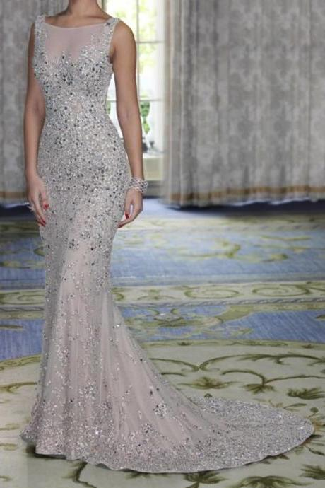 Beaded Prom Dresses,Beading Prom Dress,Crystals Prom Gown,Sparkly Prom Gowns,Elegant Evening Dress,Sparkle Evening Gowns,Mermaid Evening Gowns,Sexy Prom Dress