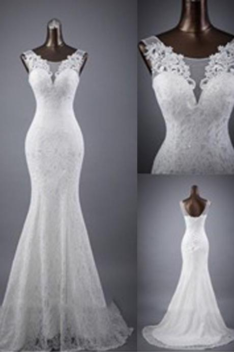 Scoop Sheer Lace Mermaid Wedding Dress Featuring Lace-Up Back and Train