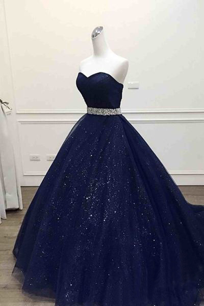 Dark Blue Prom Dress,tulle Prom Dresses,Sweetheart Prom Dresses,Sequins Floor-length Prom Dresses.Ball Gown Prom Dress, Quinceanera Dresses,Prom Dress