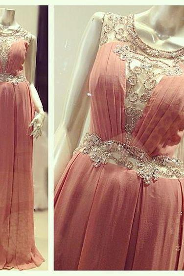 Light Pink A Line Chiffon Evening Dresses, Beading Crystals Prom Dress, Sexy Party Dress, Long Formal Dress