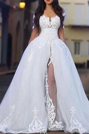 Wedding Dress,Long Sleeve Bridal dresses,Sweetheart Neck Arabic Middle East wedding dresses with Sheer Detachable Train robe de boda weding dresses,Wedding Guest Prom Gowns, Formal Occasion Dresses,Formal Dress