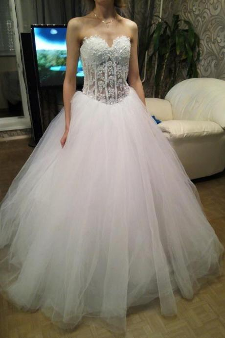 Sweetheart Beaded Corset Bodice Princess Wedding Ball Gown