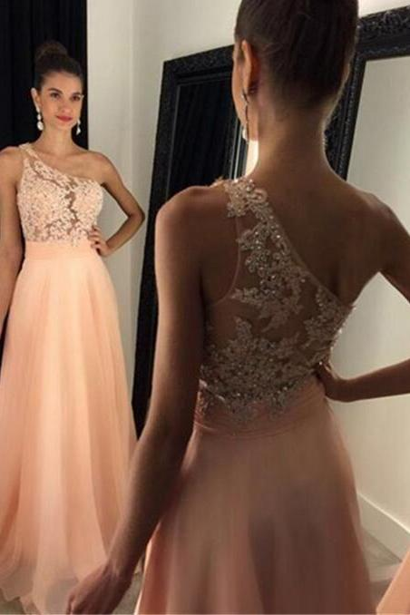 Sexy Backless Prom Dress,Chiffon Beading Prom Dresses,One Shoulder Evening Dress, Peach Chiffon Prom Gown,Long Prom Dress,Prom Dresses 2017,Prom Dress