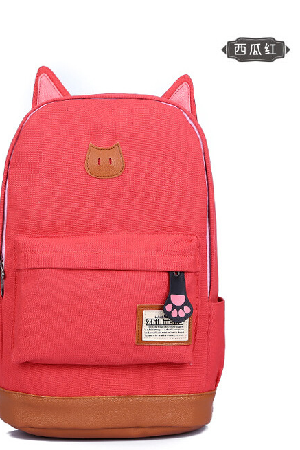 Watermelon red Backpack Bags, SImple Large Capacity Leisure Canvas Backpack