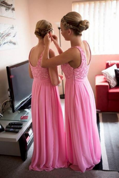 Lace Bridesmaid Dress Long,Elegant Prom Dresses