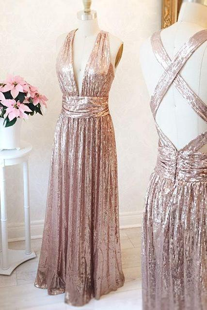Gorgeous A-line Long Rose Gold Prom Dress Bridesmaid Dress with Criss Cross Back