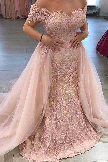 Mermaid Wedding Dress,Pink Bridal Dresses,Off the Shoulder Lace Appliqued Bridal Dress with Tulle Train