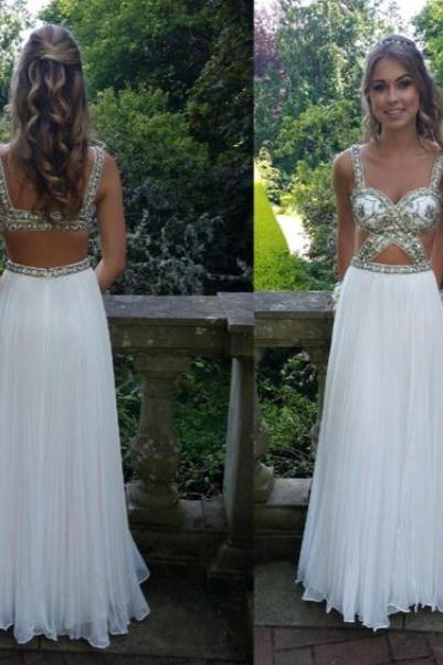 High Quality Prom Dress,A-Line Prom Dress,Chiffon Prom Dress,Beading Prom Dress, Backless Prom Dresses