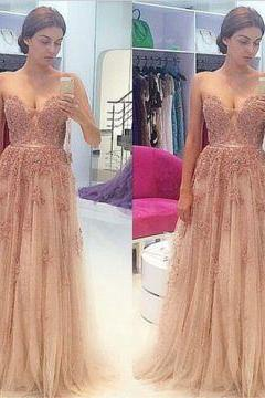 Sexy Crystal Detailing A-line Chiffon Prom Dresses