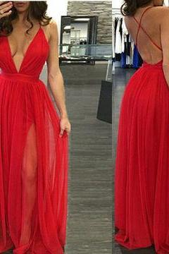 Red Sexy Deep V-Neck A-line Prom Dresses