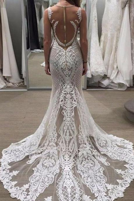 Lace Wedding Dresses,A Line Bridal Dresses,Gorgeous Bridal Dresses,Summer Bridal Dresses
