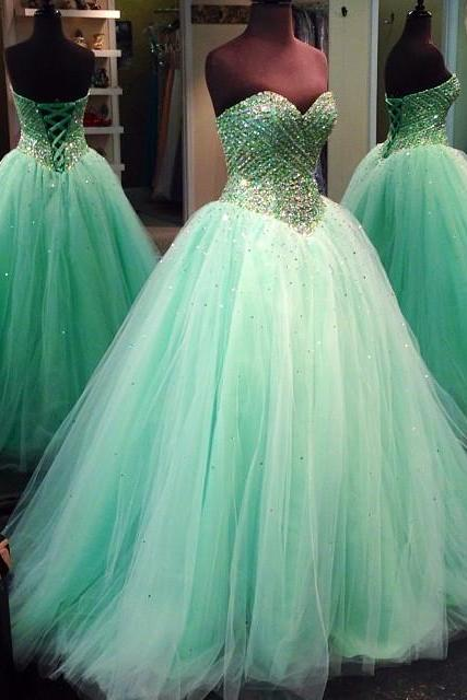 Ball Gowns Prom Dresses,Mint Green Quinceanera Dresses,Solt Tulle Wedding Engagement Dresses,Sarkling Crystal Vestido