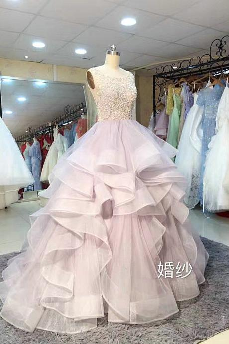 Boat Neck Beads Ball Gown Wedding Dresses ,Bridal Dresses ,Ball Gown Prom Dresses,Prom Dresses