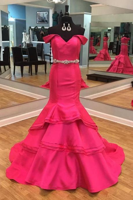 Red Carpet Dresses,Off the Shoulder Princess Evening Gown, Beautiful Ruffles Mermaid Evening Dresses,Pageant Gowns