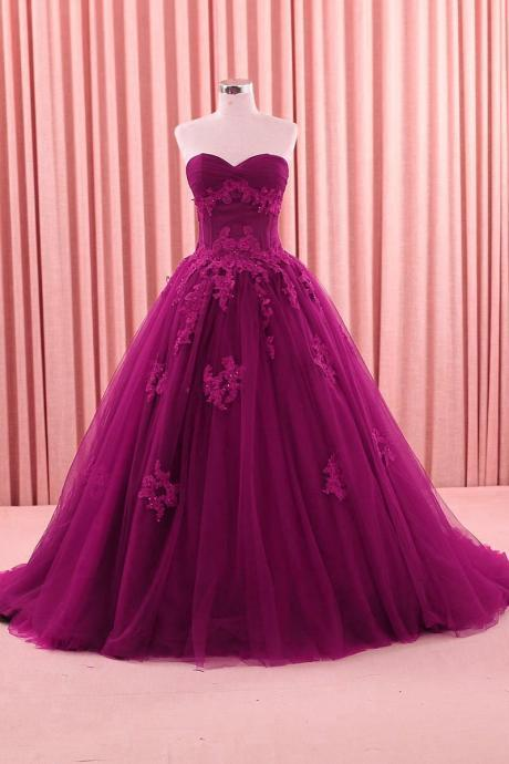 Vintage Prom Dresses,Fuchsia Formal Wedding Gowns, Sweetheart Applique Sweep Tulle Ball Gown Quinceanera Dresses,Sweet 16 Dresses