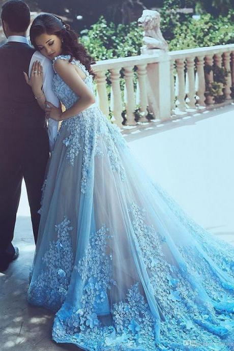 A-Line Wedding Dresses,Blue Wedding Dresses, Sleeveless Tulle Wedding Dress With Chapel Train,Princess Wedding Dress,Wedding Dress,A-Line Wedding Dresses,Blue Wedding Dresses, Sleeveless Tulle Wedding Dress With Chapel Train,Princess Wedding Dress,Wedding Dress
