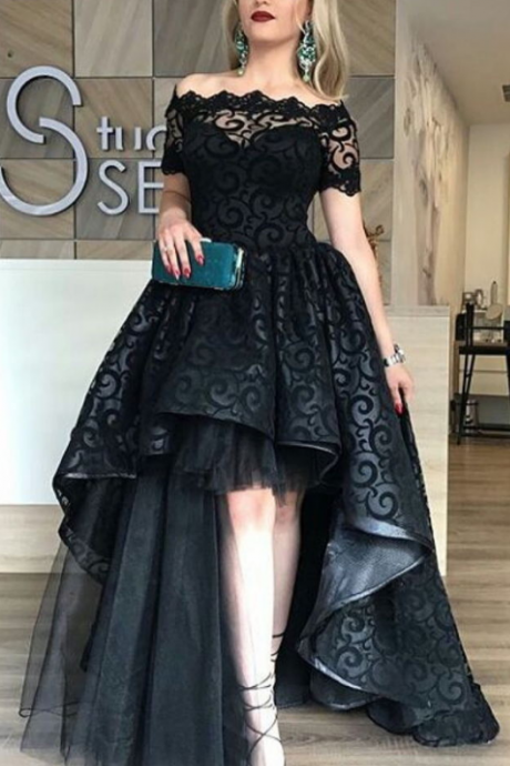 Black Lace Prom Dress, Ball Gown Off Shoulder Prom Dresses,Appliques Short Sleeve Long Party Gowns vestido de festa Cheap High Low Prom Dresses