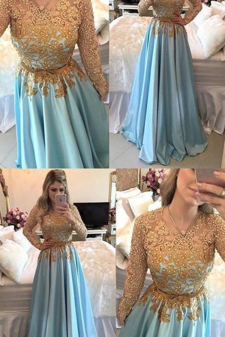 Elegant Prom Dresses,A-Line Prom Gown, Long Sleeves Blue Evening Dresses,Long Prom Dress with Lace,Prom Dress