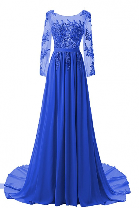 Custom Made Royal Blue Illusion A Line Lace Applique Long Sleeve Guest Wedding Dress