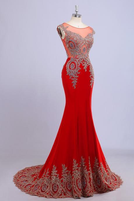 Real Pictures Prom Dress,Scoop Sleeveless Beads Prom Dresses,Crystal Floor Length Backless Evening Dress vestidos de festa Mermaid Red Prom Dresses