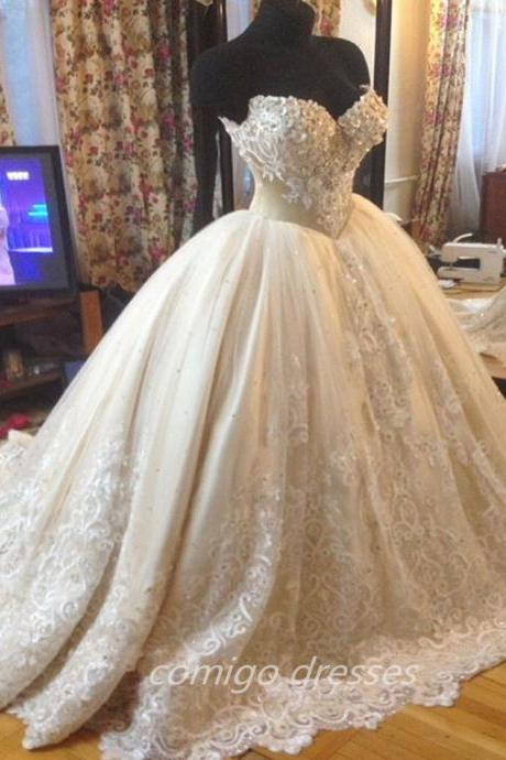 Appliques Beads Sweetheart Wedding Dress Puffy Ball Gown Custom White Ivory Wedding Dresses