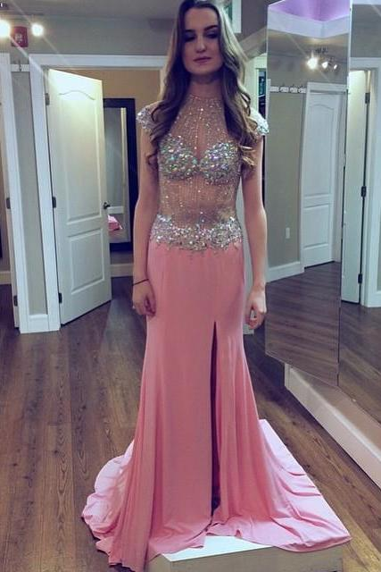 High Neck Cap Sleeve Prom Dress,Long Prom Dresses