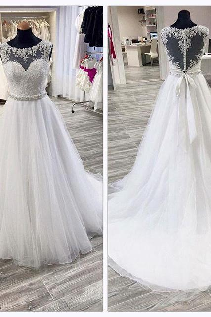 Lace Appliques Sweetheart Illusion Floor Length Tulle Wedding Gown Featuring Beaded Embellished Belt, Illusion Open Back and Train