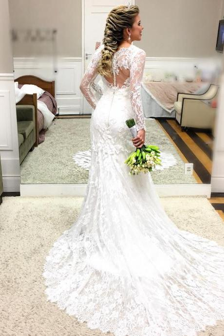 Cheap wedding dresses ,Romantic Lace Mermaid Wedding Dress with Sheer Long Sleeves