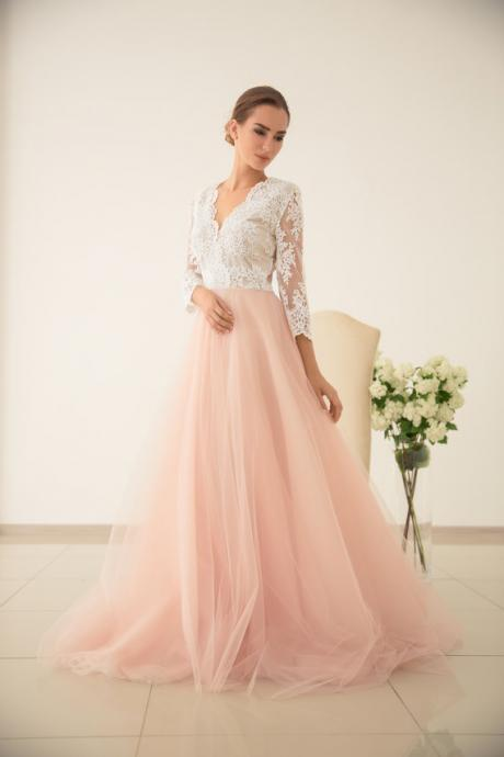 Blush Scalloped V-Neck Lace Appliqués Tulle A-line Wedding Dress with 3/4 Sleeves and V-Back