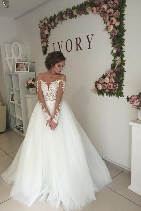 Long Sleeves Sheer Bateau Neckline Wedding Dress with Open V Back Wedding Dresses