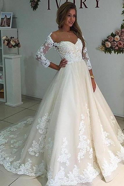 Cheap wedding dresses ,Cheap wedding dresses ,Sheer Neck Long Sleeves Ivory Wedding Dress with Lace