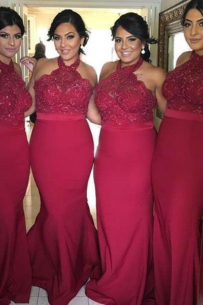 Gorgeous Halter Red Mermaid Long Prom Dress Bridesmaid Dress