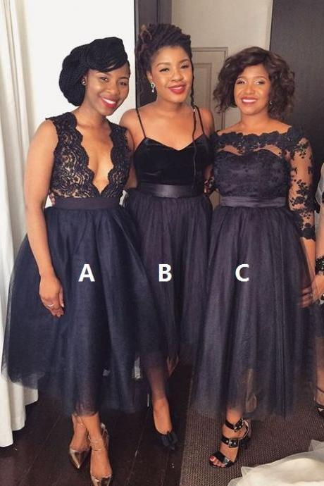 Navy Blue Bridesmaid Dresses, Short Bridesmaid Dress, Mismatched Bridesmaid Dress, Tulle Bridesmaid Dress, Bridesmaid Dresses