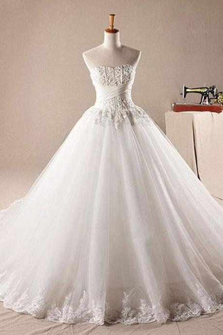 Long Wedding Dress, Tulle Wedding Dresses, Lace Wedding Dress, Sweet Heart Bridal Dress