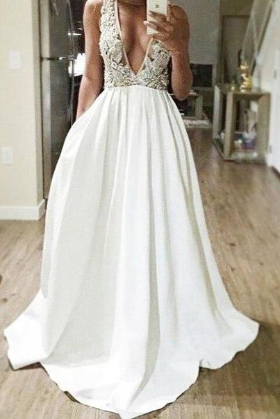 Deep V-Neck Long Weddin Dresses,White Lace Prom Dress,A-Line Evening Dresses,Formal Prom Gowns,Cheap Party Prom Dresses
