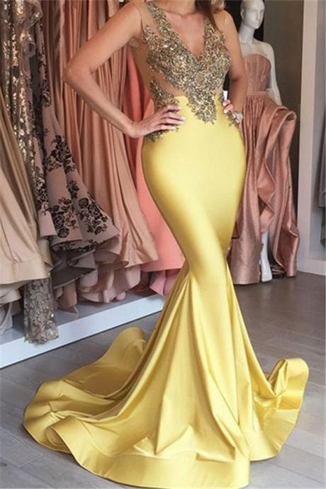 Sexy Sleeveless Stretch Prom Dress,Beaded Appliques V-neck Mermaid Yellow Prom Dresses