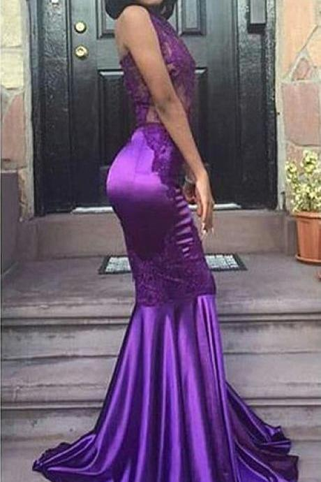 Sexy Halter Mermaid Purple Prom Dress, Evening Gown Appliques Lace Open Back Sleeveless Prom Dresses