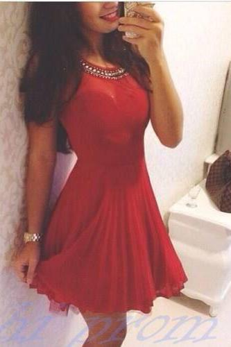 Red Homecoming Dress,Chiffon Homecoming Dresses,Casual Homecoming Gowns,Sweet 16 Dress,Silver Beading Homecoming Dresses,Birthday Party Dress