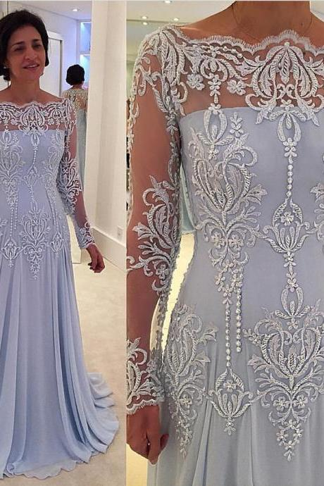 Lace Long-Sleeve Prom Dress,Elegant A-line Mother-the-bride Dress Prom Dresses