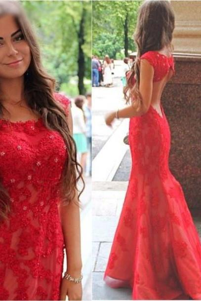 red prom dress,open back prom dress,mermaid prom dress,lace appliques prom dress ,cheap wedding dresses,long prom dresses