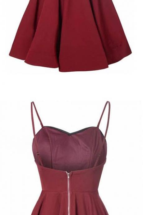 Burgundy Sweetheart Spaghetti Straps Short Ruffled A-Line Homecoming Dress