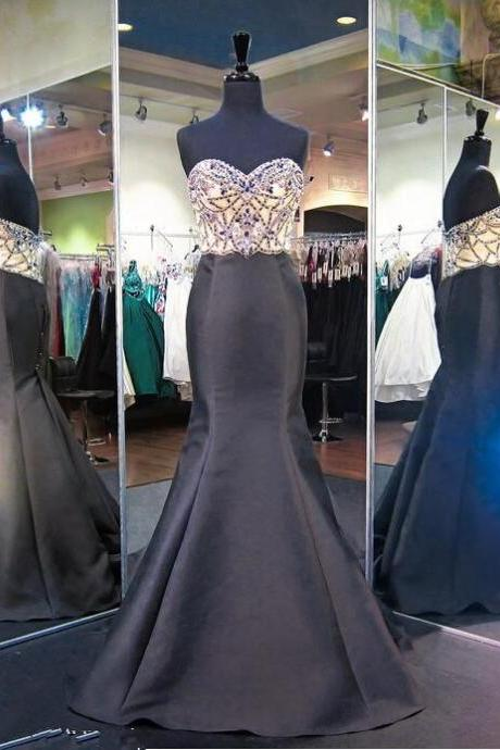Black Sweetheart Mermaid Formal Dresses, Beads Sleeveless Formal Dresses,Modern Sweep-Train Evening Gown Prom Dresses