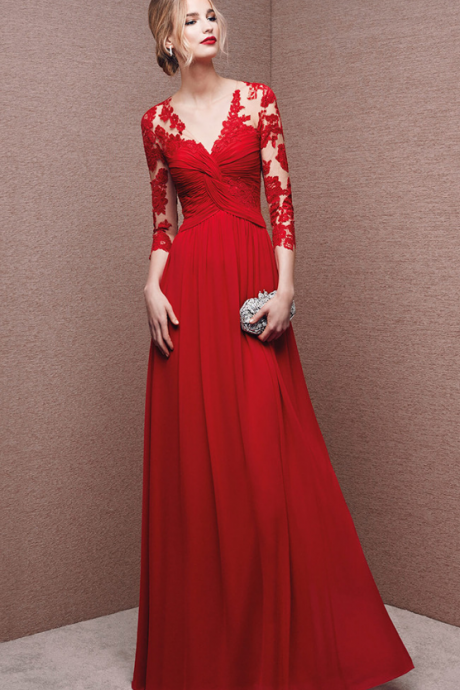 Custom Made Red Twisted Front Long Prom Dress with Lace Applique Sleeves