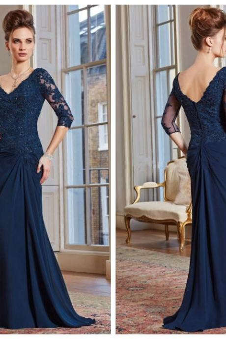 Dark Blue Half Sleeve Mother Of The Bride Dresses V Neck Lace Applique Beads Bodice Mermaid Prom Evening Formal Gowns