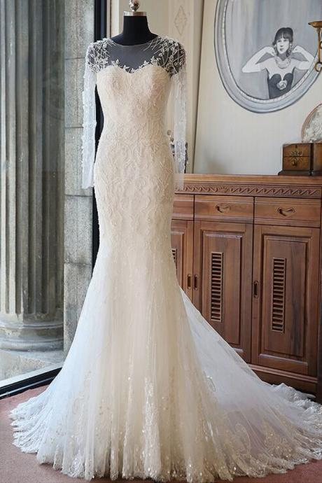 Sheer Illusion Beaded Long Sleeved Mermaid Wedding Dress Featuring Court Train