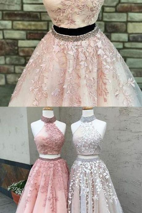 Two-Piece Formal Dress,Featuring Lace Appliqués Prom Dress,Beaded High Halter Prom Dresses,Crop Top and Tulle Floor Length Skirt Prom Dress
