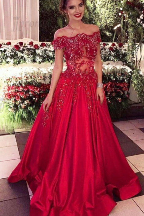 A-line Prom Dress,Long Red Prom Dresses,Beaded Prom Dresses,Off Shoulder Prom Dresses,Evening Dresses,Party Dresses