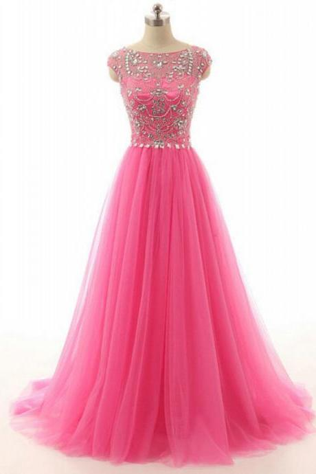 High Quality Formal Dresses,Handmade Beading Tulle Long Prom Dresses,Charming Pink A-line Evening Gowns